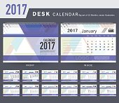 Desk Calendar 2017 Vector Design Template. Big set of 12 Months. Week Starts Monday, Premier Blue.VectorDesk Calendar 2017 Vector Design Template. Big set of 12 Months. Week Starts Monday