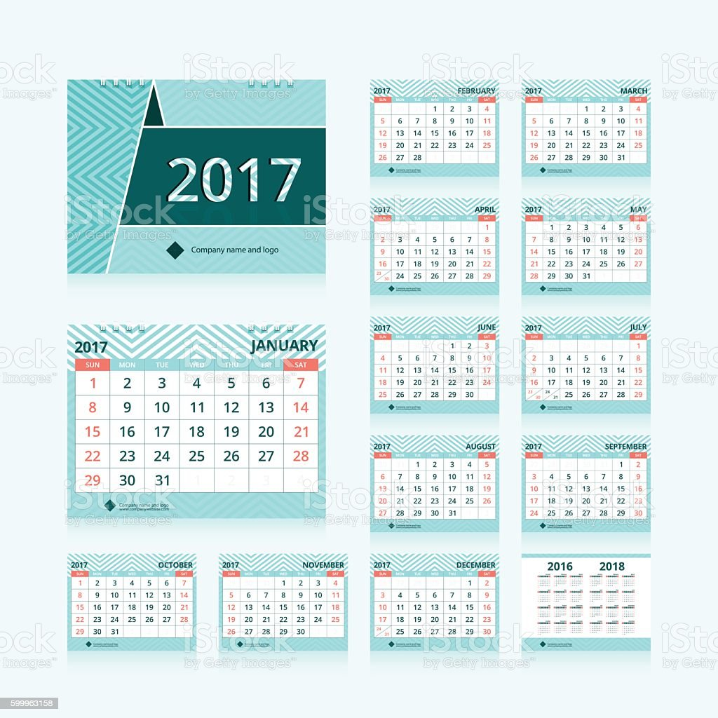 Desk calendar 2017 vector art illustration