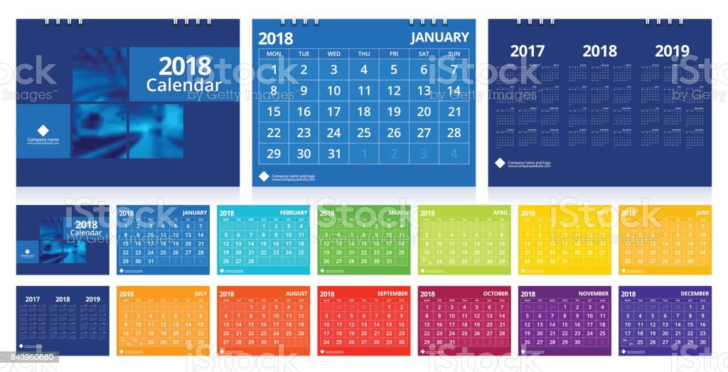 Desk Calendar 2018 Design Template 12 Months, Front Cover And Back Cover.  Desk Calendar  Calendar Sample Design