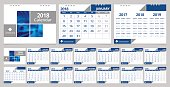 Desk calendar 2018 design template 12 months, front cover and back cover. Desk calendar corporate design layout template vector week start on Monday. EPS-10 sample image with Gradient Mesh.