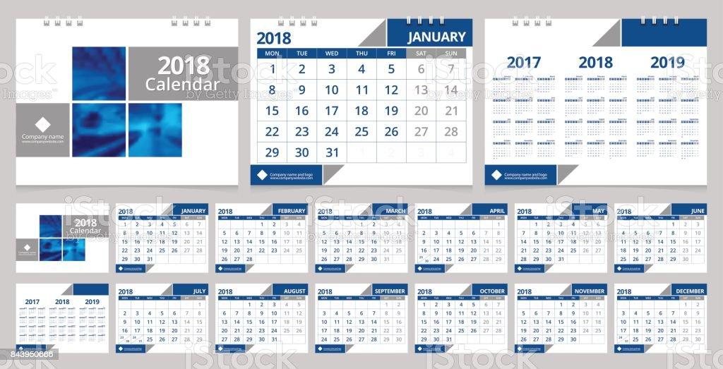Desk calendar 2018 design template 12 months, front cover and back cover. Desk calendar corporate design layout template vector week start on Monday. EPS-10 sample image with Gradient Mesh. vector art illustration