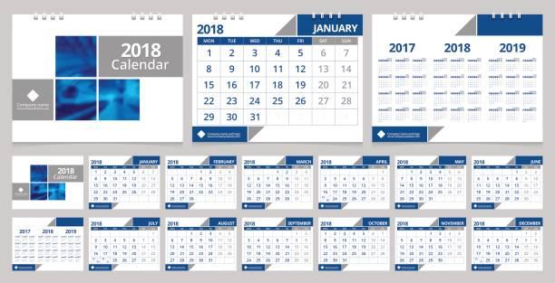 schreibtisch-kalender 2018-design-vorlage 12 monate, titelblatt und rückseite. schreibtisch kalender corporate-design-layout-vorlage vektor wochenstart am montag. eps-10 beispielbild mit farbverlauf mesh. - kalendervorlage stock-grafiken, -clipart, -cartoons und -symbole