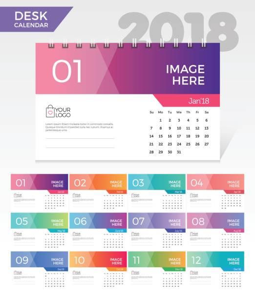 tischkalender 2018. einfachen bunten farbverlauf minimal elegante schreibtisch-kalendervorlage in weißem hintergrund - kalendervorlage stock-grafiken, -clipart, -cartoons und -symbole