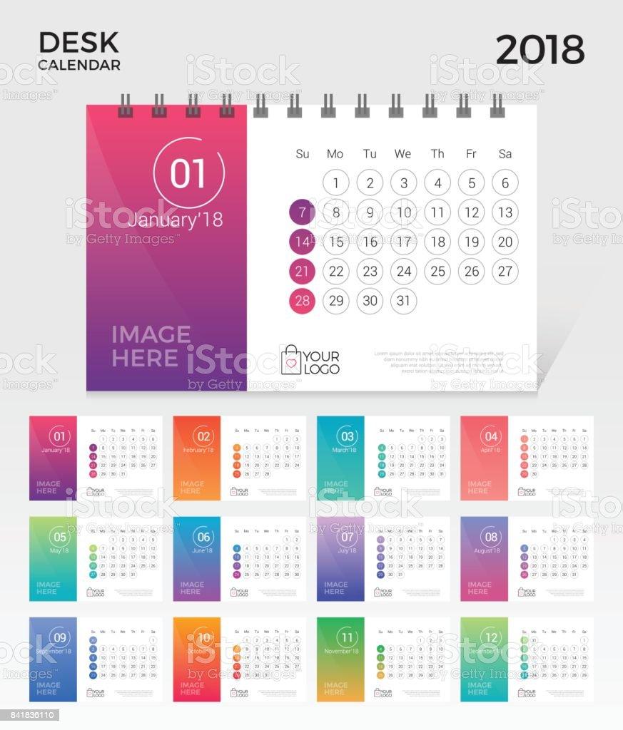 Tischkalender 2018 Kalendervorlage Nummerierten Monat Einfach ...