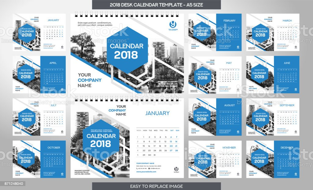 Desk Calendar 2018 Template 12 Months Included A5 Size Stock Vector