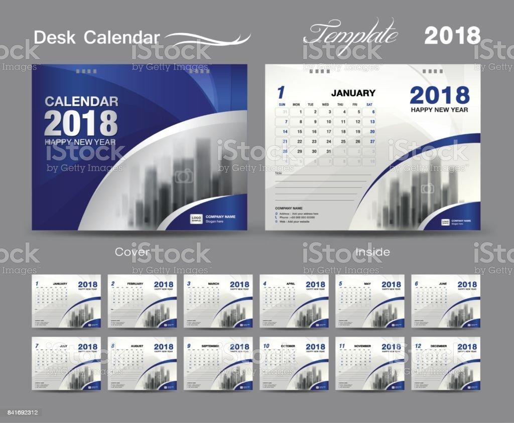 desk calendar 2018 template design blue cover set of 12 months business calendar idea stock. Black Bedroom Furniture Sets. Home Design Ideas