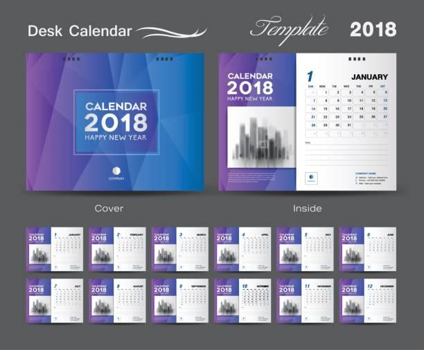 schreibtisch-kalender 2018-template-design, blaue abdeckung set von 12 monaten, kalender geschäftsidee - kalendervorlage stock-grafiken, -clipart, -cartoons und -symbole
