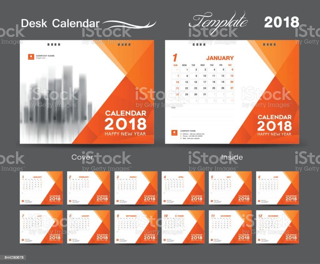 Ilustración de Diseño De Plantilla De Calendario 2018 Escritorio ...