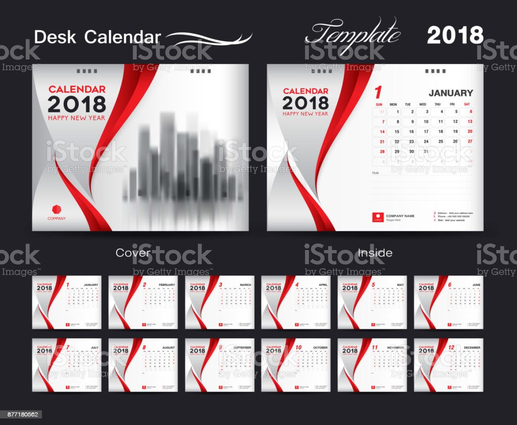 desk calendar 2018 template design red cover set of 12 months business calendar