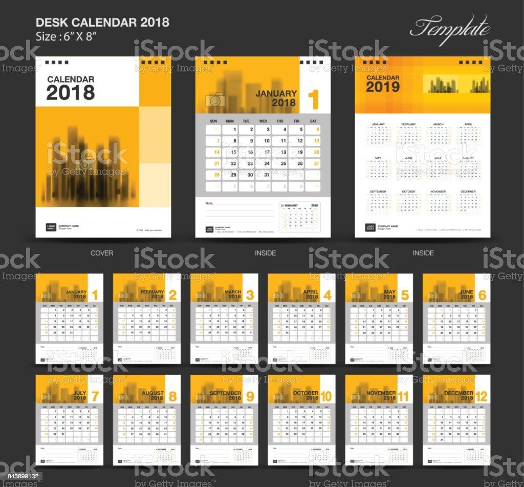 Escritorio Calendario 2018 Año Tamaño 6 X 8 Pulgadas Plantilla ...