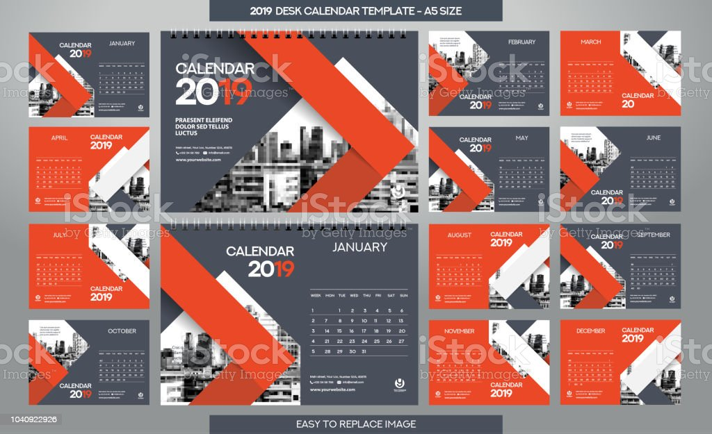 Desk Calendar 2019 Template 12 Months Included A5 Size Stock Vector