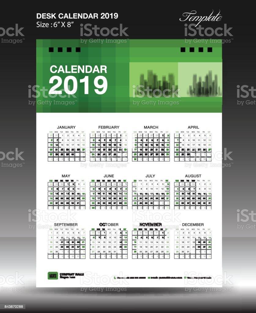 Ilustración de Diseño De Plantilla De Calendario 2019 De Escritorio ...