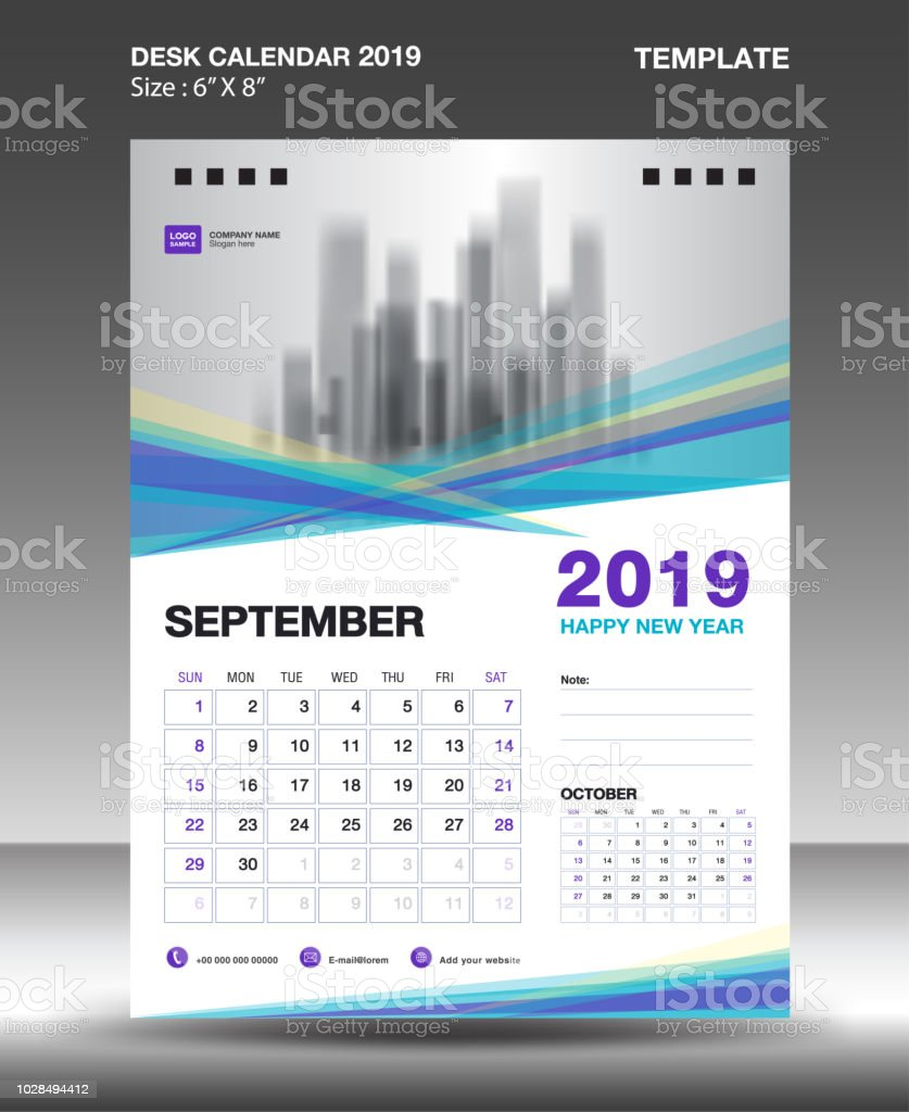 September Desk 2019 Kalendervorlage Flyer Design Vektor Blau Lila ...