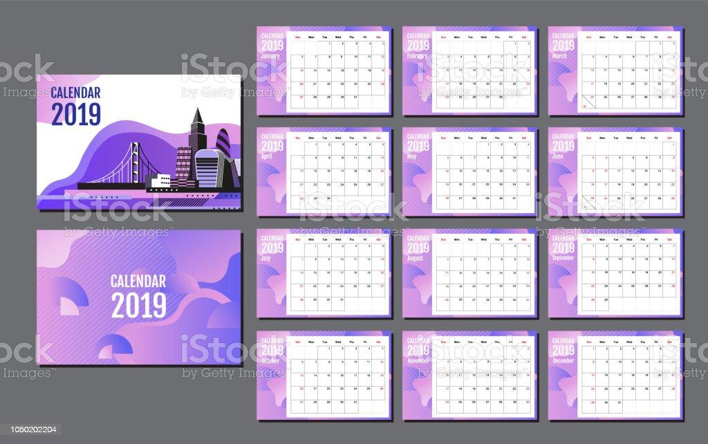 desk calendar 2019 template layout annual report planner vector flat