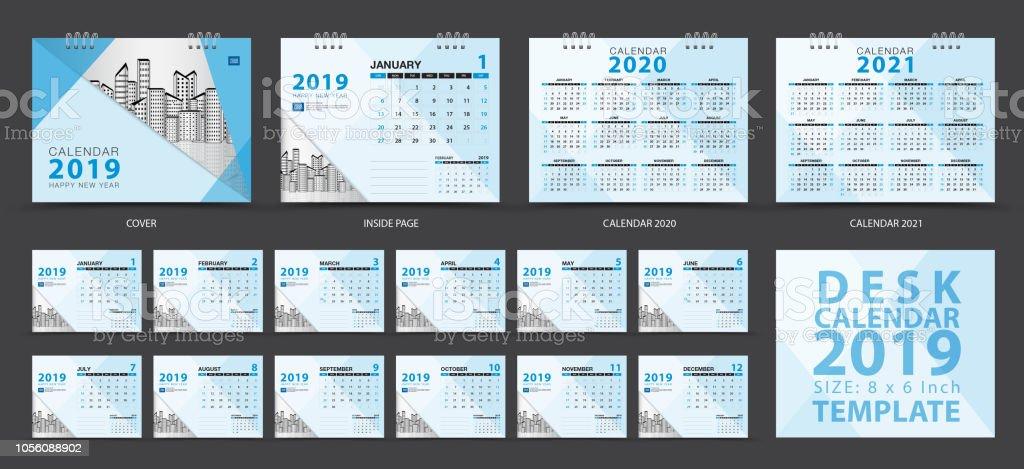 Desk Calendar 2019 Template Set Of 12 Months Calendar 20202021