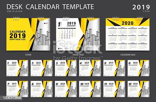 Desk Calendar 2019 Template Set Of 12 Months Planner Week Starts On