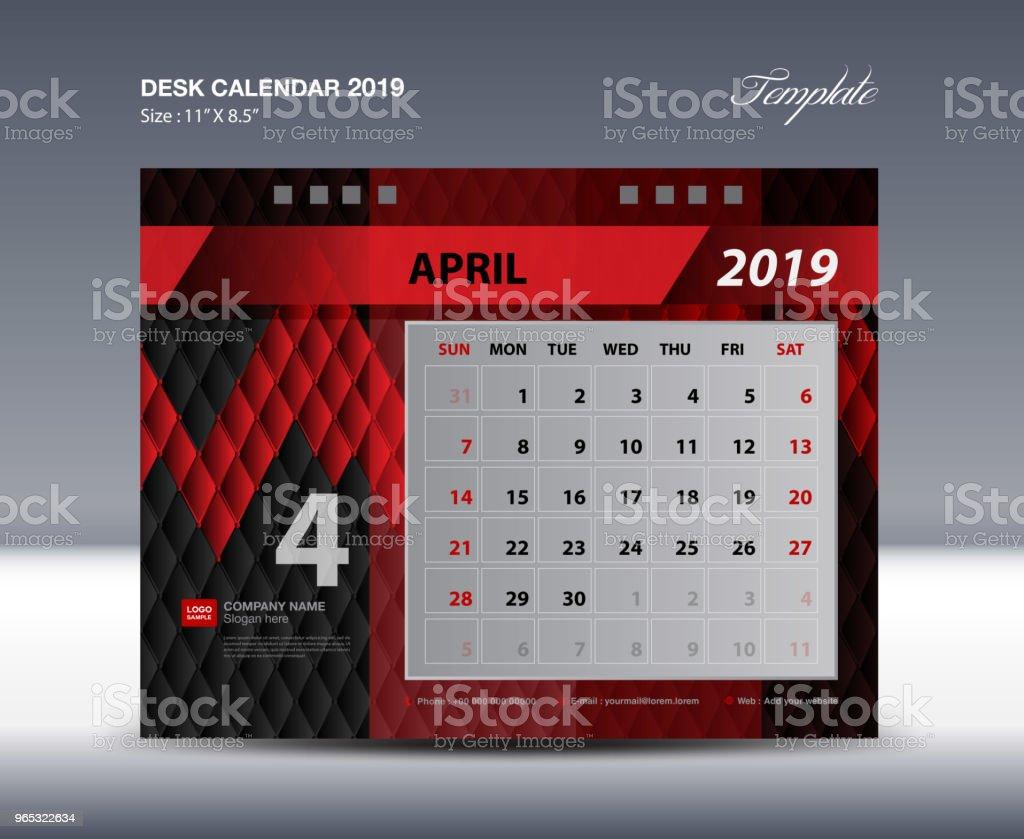 Modèle de bureau de calendrier 2019, la semaine commence dimanche, design de la papeterie, vecteur de conception de flyer, impression médias idée créative design, noir et rouge fond - clipart vectoriel de Abstrait libre de droits