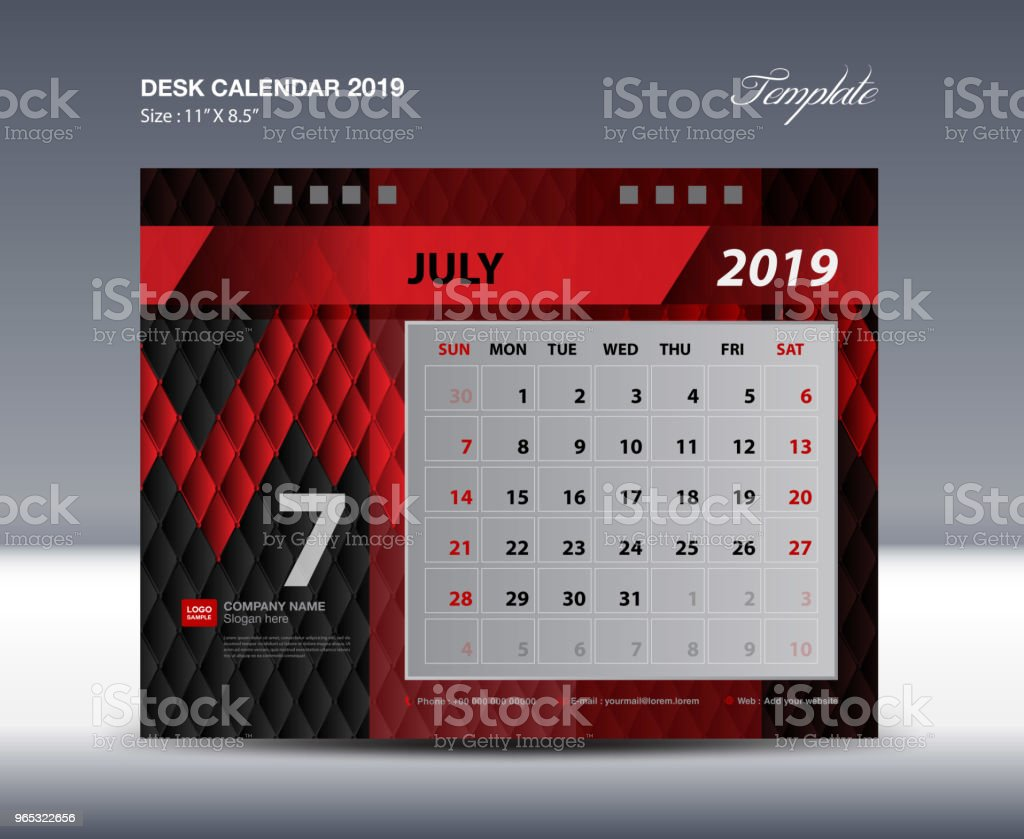 Desk Calendar 2019 Template, Week starts Sunday, Stationery design, flyer design vector, printing media creative idea design, Black and red background royalty-free desk calendar 2019 template week starts sunday stationery design flyer design vector printing media creative idea design black and red background stock vector art & more images of abstract