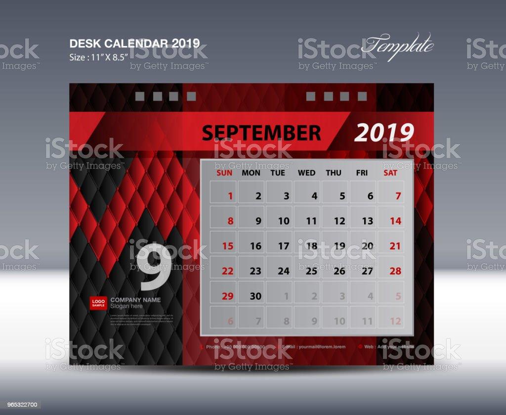 Desk Calendar 2019 Template Week Starts Sunday Stationery Design Flyer Design Vector Printing Media Creative Idea Design Black And Red Background - Stockowe grafiki wektorowe i więcej obrazów Abstrakcja
