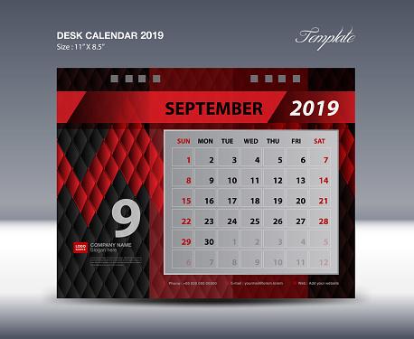 Desk Calendar 2019 Template Week Starts Sunday Stationery Design Flyer Design Vector Printing Media Creative Idea Design Black And Red Background Stock Illustration - Download Image Now
