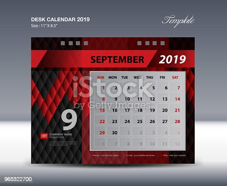 Desk Calendar 2019 Template Week Starts Sunday Stationery Design Flyer Design Vector Printing Media Creative Idea Design Black And Red Background Stock Vector Art & More Images of Abstract 965322700