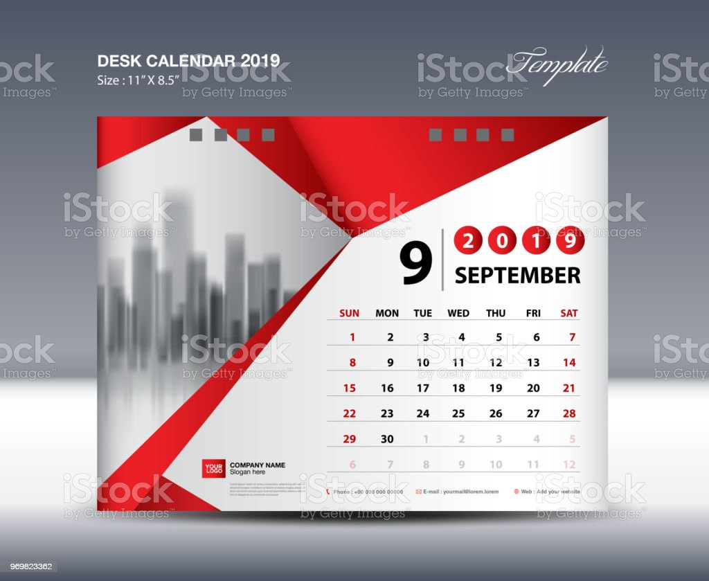 September Desk Calendar 2019 Template Week Starts Sunday Stationery