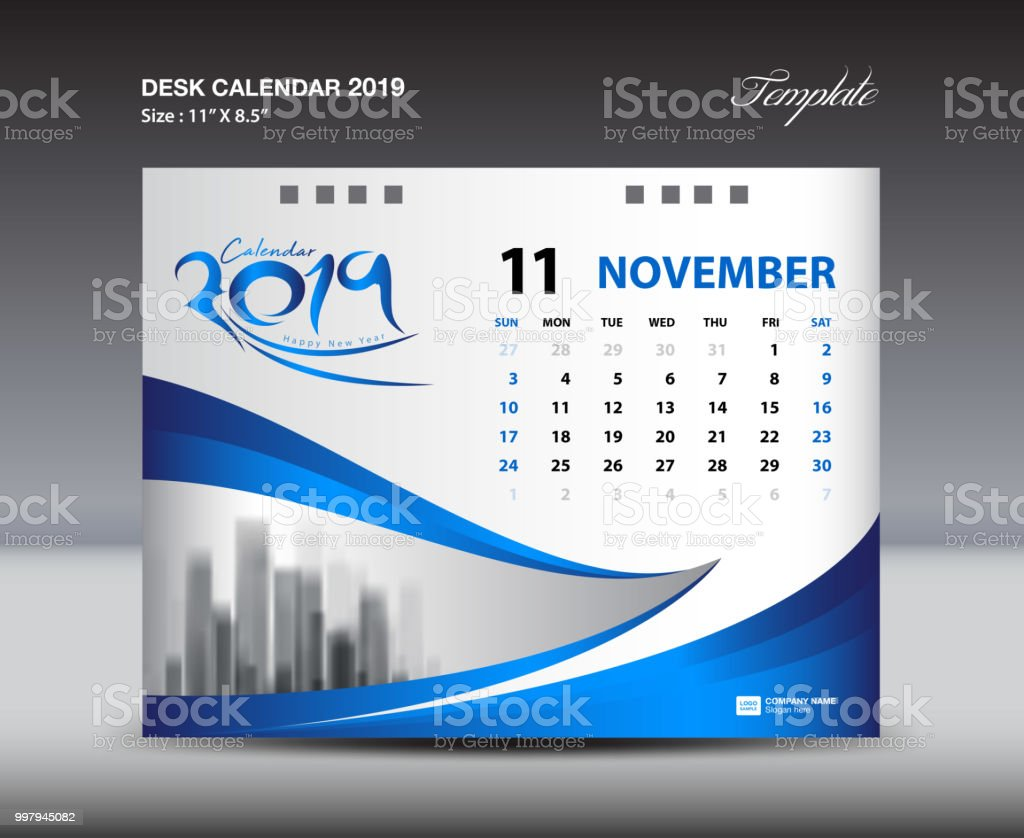 november desk calendar 2019 template week starts sunday stationery