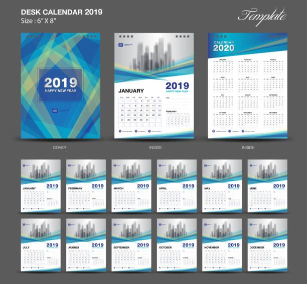 schreibtisch kalender 2019 jahr größe 6 x 8 zoll-vorlage, blaue kalendervorlage 2019, festlegen von 12 monaten, die woche beginnt montags, wandkalender, flyer design, cover vorlage vektor, kreative werbung - kalendervorlage stock-grafiken, -clipart, -cartoons und -symbole