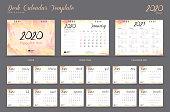 Desk calendar 2020 template, Calendar 2021, Set of 12 Months, Planner, Week starts on Sunday, Stationery design, advertisement, Vector layout, watercolor cover design, business brochure flyer