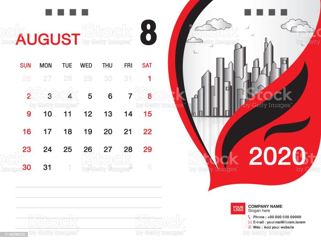 Calendrier Du Mois D Aout 2020.Bureau Calendrier 2020 Vecteur De Modele Aout 2020 Mois Mise