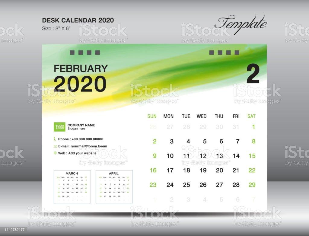 February 2020 Watercolor Calendar Desk Calendar 2020 Template Vector February 2020 Month With Green