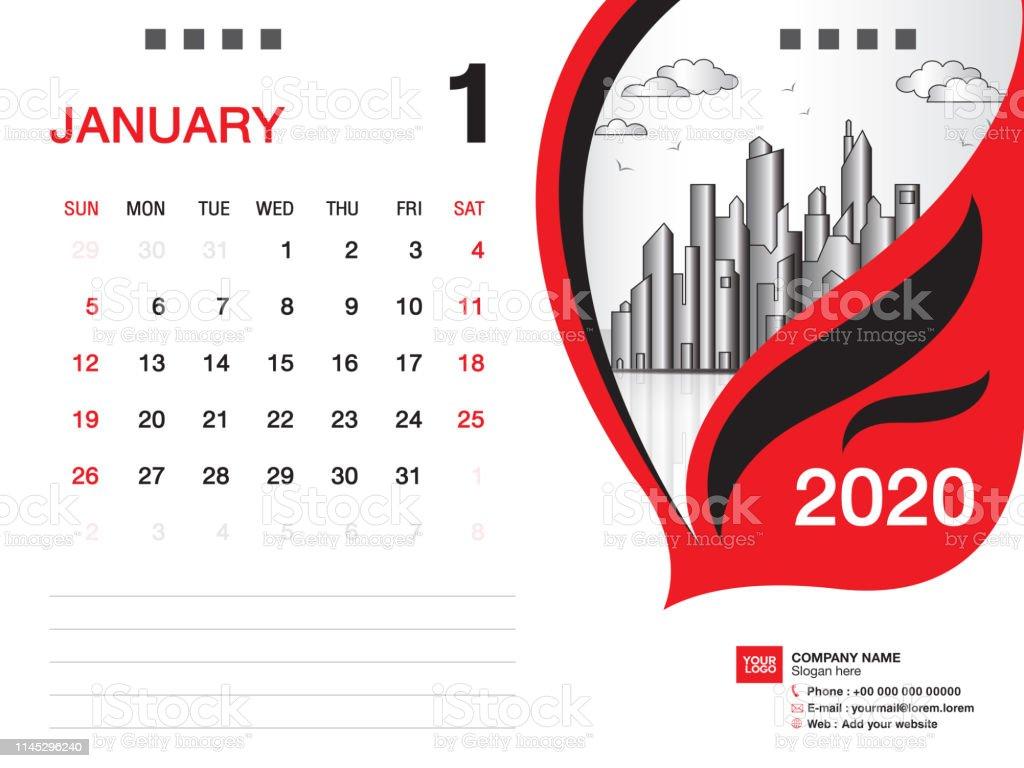 Calendrier Mois Janvier 2020.Bureau Calendrier 2020 Modele Vecteur Janvier 2020 Mois Mise