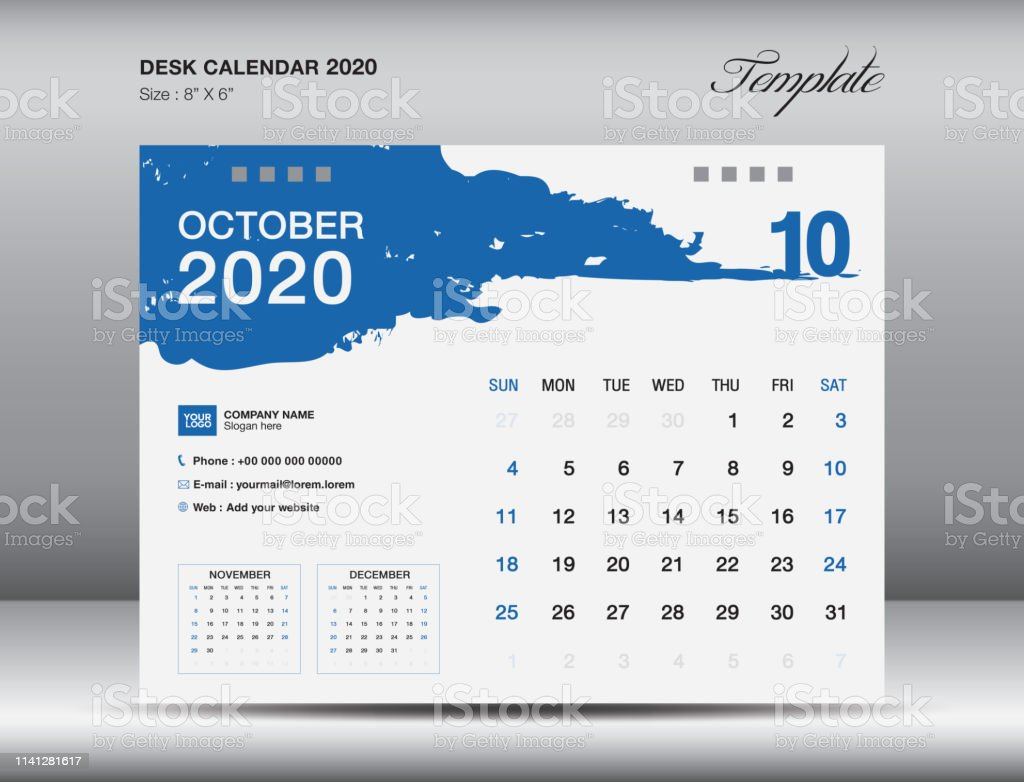 Desk Calendar 2020 Template Vector October 2020 Month Business
