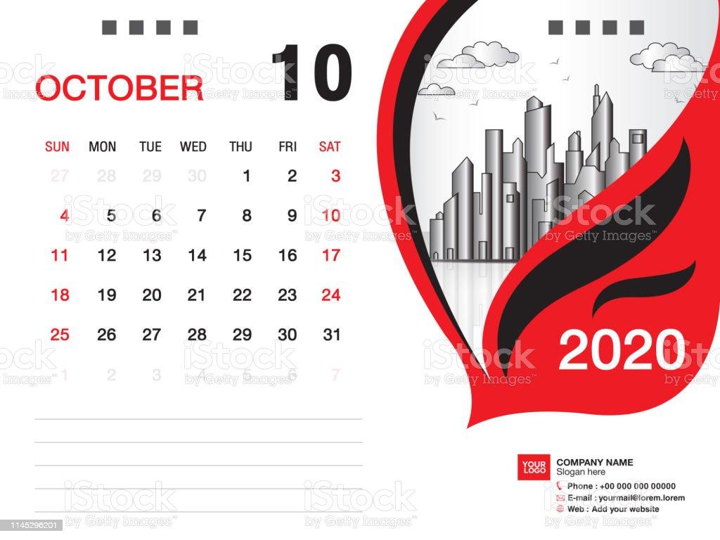 Desk Calendar 2020.Desk Calendar 2020 Template Vector October 2020 Month Business