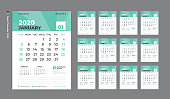 Desk Calendar 2020 template,  Week Starts on Sunday. Set of 12 Months. planner template. green background. vertical page vector Eps10.