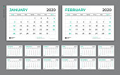 Desk Calendar 2020 template,  Week Starts on Sunday. Set of 12 Months. planner template. vector Eps10.