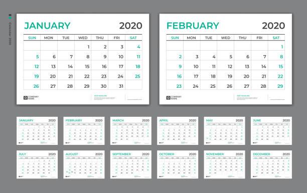 desk calendar 2020 template,  week starts on sunday. set of 12 months. planner template. green background. vertical page vector eps10. - calendar stock illustrations, clip art, cartoons, & icons