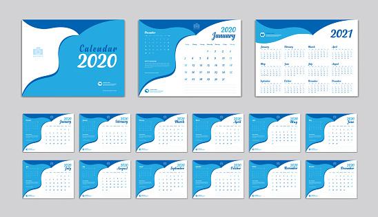 Desk Calendar 2020 Vector Template Calendar 2021 Design ...