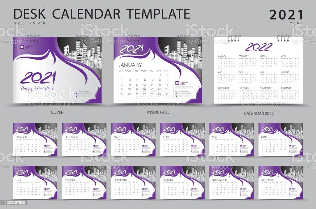 Desk Calendar 2021 Set Template With Calendar 2022 Design Purple Cover Design Corporate Design Planner Week Starts On Sunday Set Of 12 Months Stock Illustration Download Image Now Istock