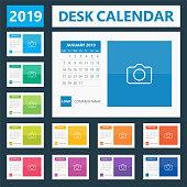 2019 Desk Calendar. Days start from Monday. European version