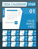 2020 Desk Calendar. Days start from Monday. European version