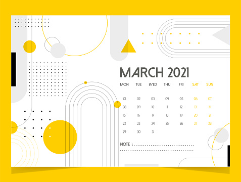 2021 Desk Calendar Design - March month, geometric shapes and yellow colors.