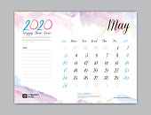 Desk Calendar for 2020 year, may 2020, week start on sunday, planner design, stationery, business printing, watercolor background, vector eps10,  8 x 6 inch size