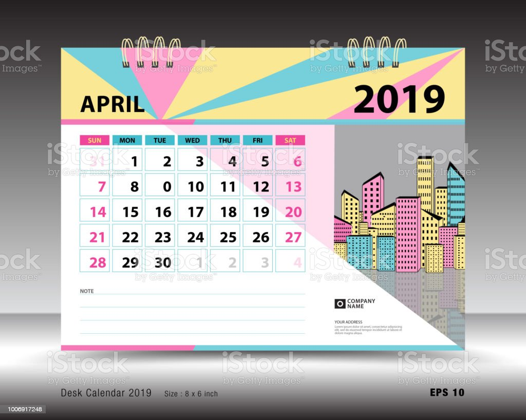 Desk Calendar For April 2019 Template Printable Calendar Planner