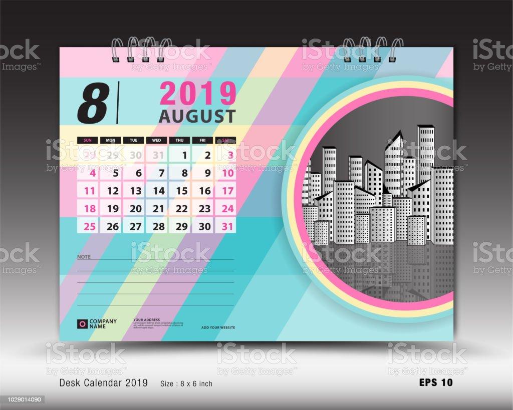 Desk Calendar For August 2019 Template Printable Calendar Planner
