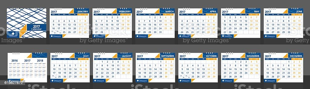 Desk calendar set include twelve months front cover and back vector art illustration