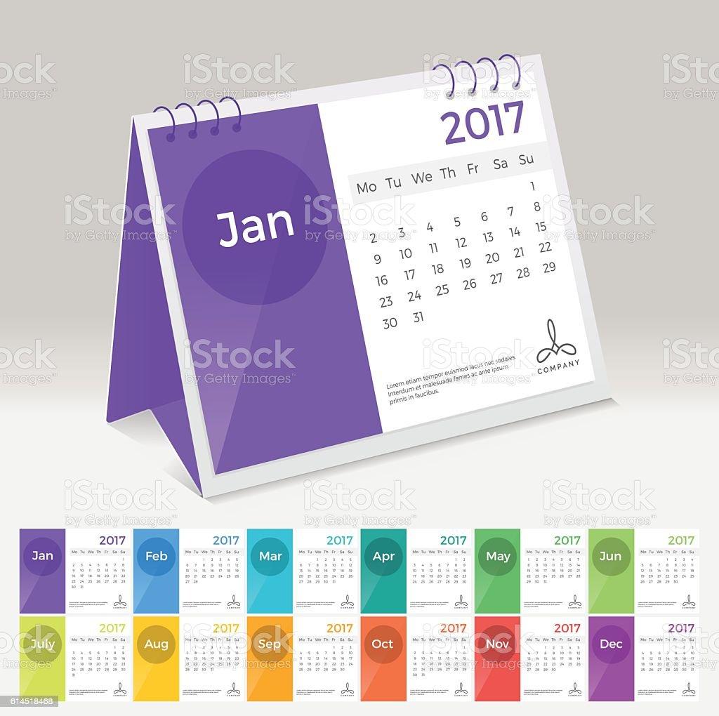Elegant Desk Calendar Design : Desk calendar simple colorful flat minimal elegant