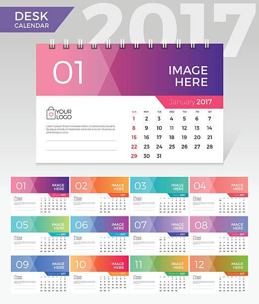 desk calendar. simple colorful gradient minimal elegant desk calendar template - tischkalender stock-grafiken, -clipart, -cartoons und -symbole