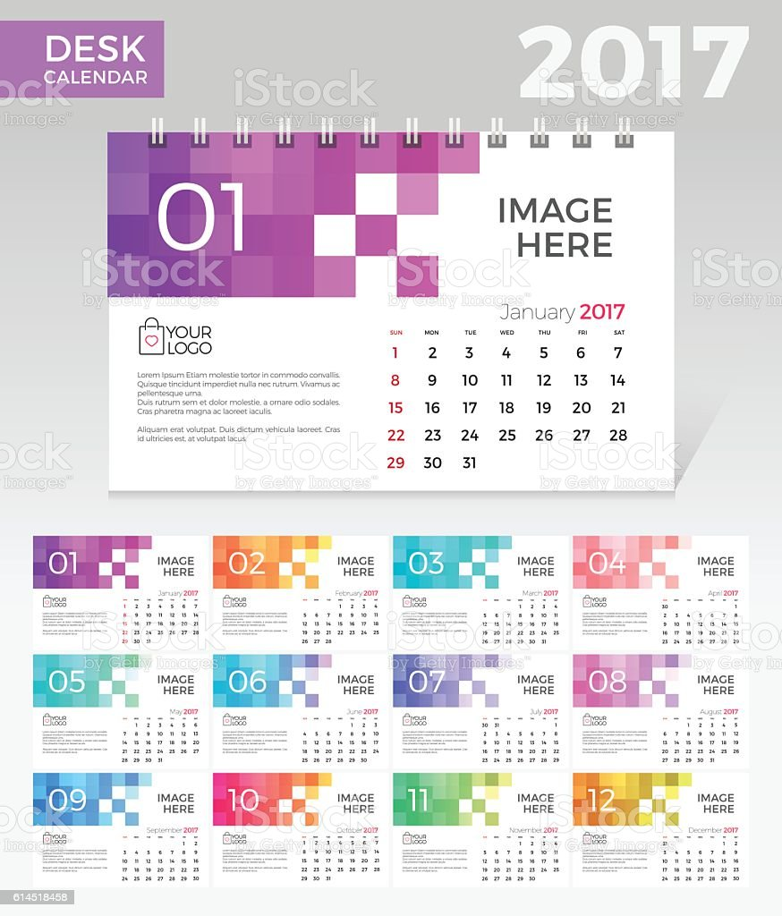 Desk Calendar. Simple Colorful Gradient Pixel elegant desk calendar template vector art illustration