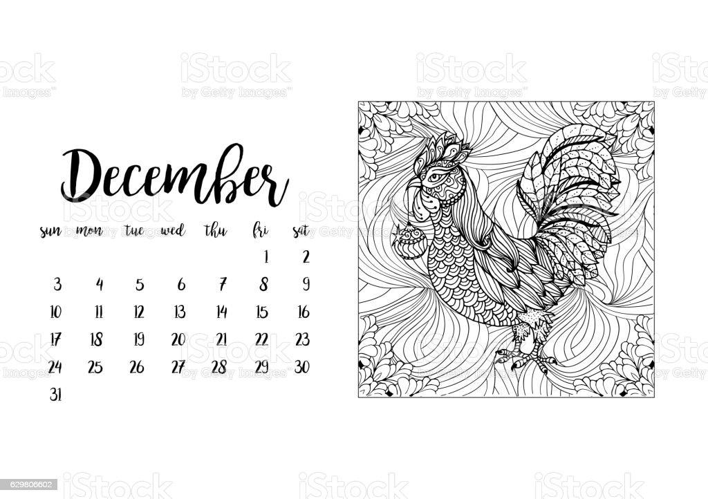 Desk calendar template for month December with doodle stylized rooster vector art illustration